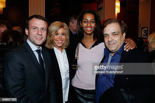 Emmanuel Macron and his wife Brigitte Trogneux Didier Bourdon and his wife MarieSandra Badini Duran attend Theater Play 'A Tort Et A Raison' at...