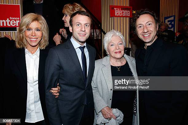 Emmanuel Macron and his wife Brigitte Trogneux Line Renaud and Stephane Bern attend Theater Play 'A Tort Et A Raison' at Theatre Hebertot on January...