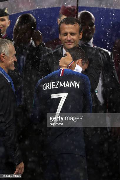 Emmanuel Macron Antoine Griezmann during Russia 2018 World Cup final football match between France and Croatia at the Luzhniki Stadium in Moscow on...