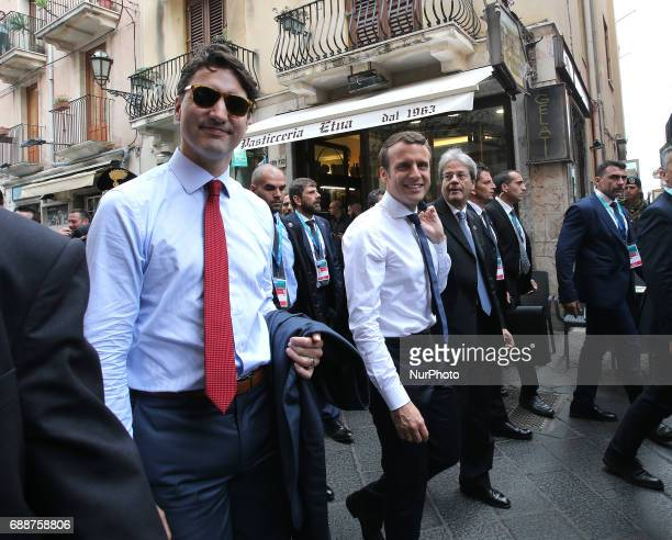Emmanuel Macron at the G7 Taormina summit on the island of Sicily on May 26 2017 in Taormina Italy Leaders of the G7 group of nations which includes...