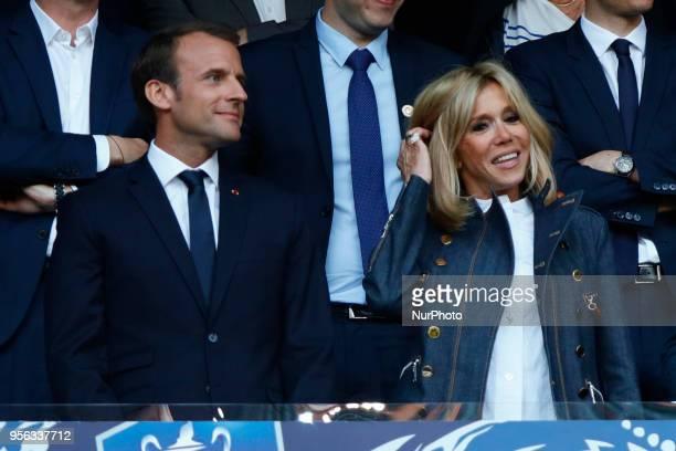 Emmanuel Macron Brigitte Macron during French Cup final between Les Herbiers VF and Paris SaintGermain at Stade de France on May 8 2018 in SaintDenis...