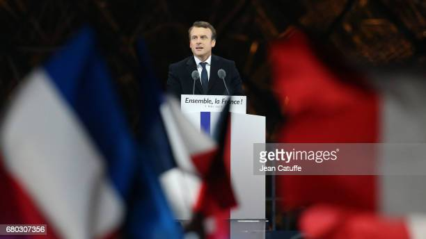 Emmanuel Macron celebrates his presidential election victory at Le Louvre on May 7 2017 in Paris France