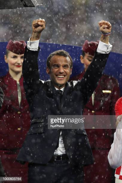 Emmanuel Macron during Russia 2018 World Cup final football match between France and Croatia at the Luzhniki Stadium in Moscow on July 15 2018