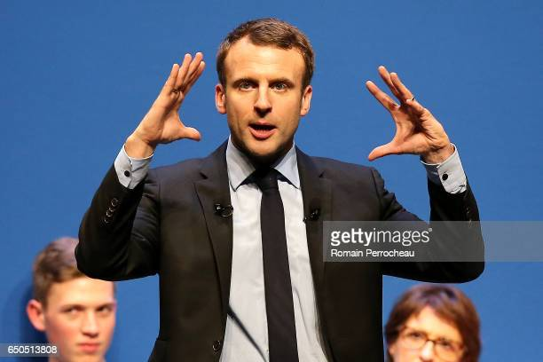 Emmanuel Macron, former French Economy Minister, founder and President of the political movement 'En Marche !' and French presidential election...