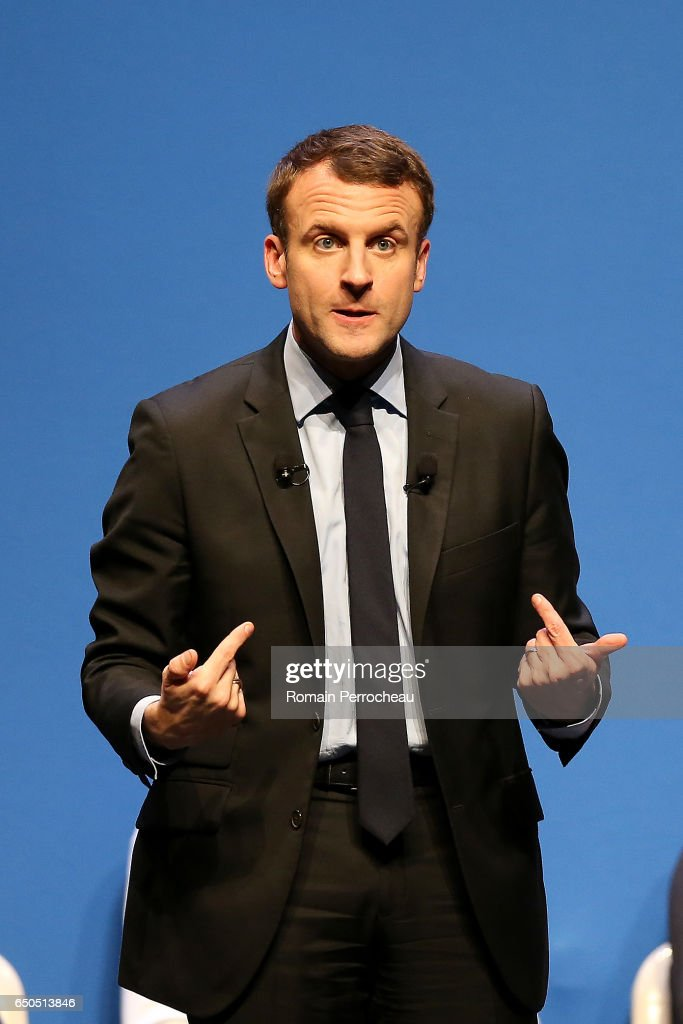 Former French Economy Minister & French Presidential Election Candidate Emmanuel Macron Holds A Rally Meeting In Talence