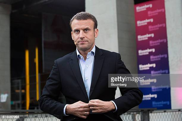Emmanuel Macron, France's former economy minister, arrives for a Bloomberg Television interview at the Hello Tomorrow technology conference in Paris,...