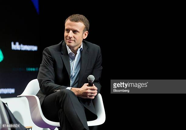 Emmanuel Macron, France's former economy minister, looks on during a panel discussion at the Hello Tomorrow technology conference in Paris, France,...