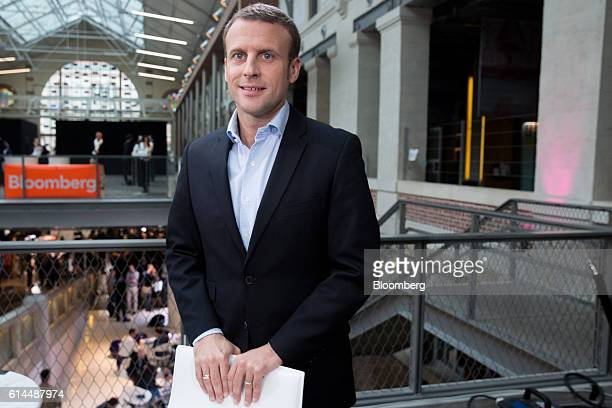 Emmanuel Macron, France's former economy minister, poses for a photograph following a Bloomberg Television interview at the Hello Tomorrow technology...