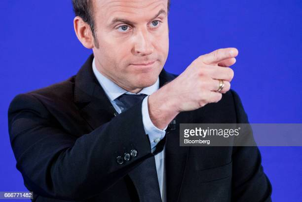 Emmanuel Macron France's independent presidential candidate gestures during a terrorism policy news conference at the En Marche party headquarters in...