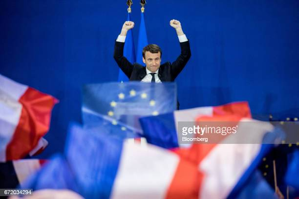 Emmanuel Macron France's independent presidential candidate gestures while speaking with attendees after the first round of the French presidential...