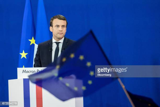 Emmanuel Macron France's independent presidential candidate pauses while speaking to attendees after the first round of the French presidential...