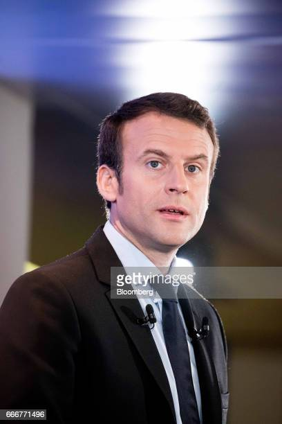 Emmanuel Macron France's independent presidential candidate speaks during a terrorism policy news conference at the En Marche party headquarters in...