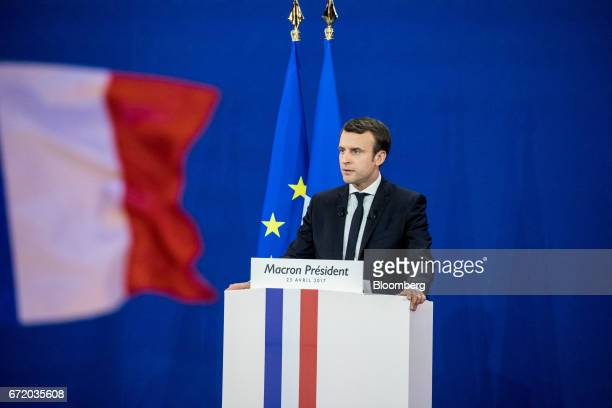 Emmanuel Macron France's independent presidential candidate speaks to attendees after the first round of the French presidential election are...