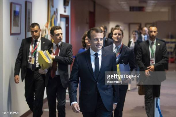 Emmanuel Macron France's president arrives for a news conference during the European Union leaders summit in Brussels Belgium on Friday June 29 2018...