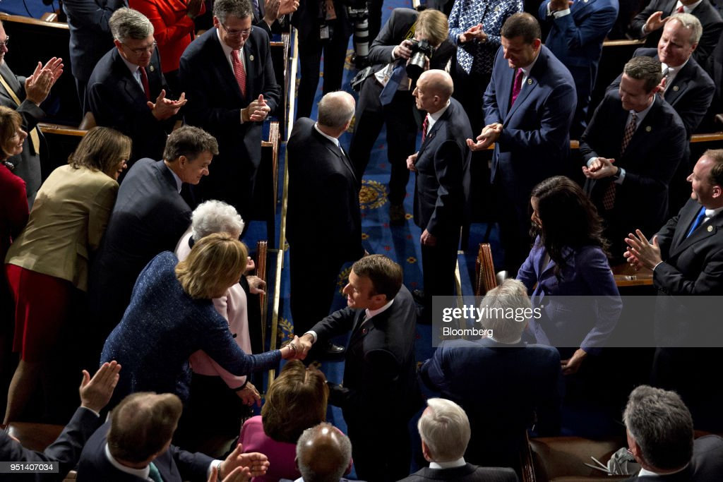Emmanuel Macron, France's president, bottom center, arrives to a joint meeting of Congress at the U.S. Capitol in Washington, D.C., U.S., on Wednesday, April 25, 2018. French President Emmanuel Macron arrived in Washington on Monday for a three-day state visit heavy on symbolism, substance and some friendly rivalry with U.S. President Donald Trump. As the two presidents got to know each other we take a look back through the archive at the key moments. Photographer: Andrew Harrer/Bloomberg via Getty Images