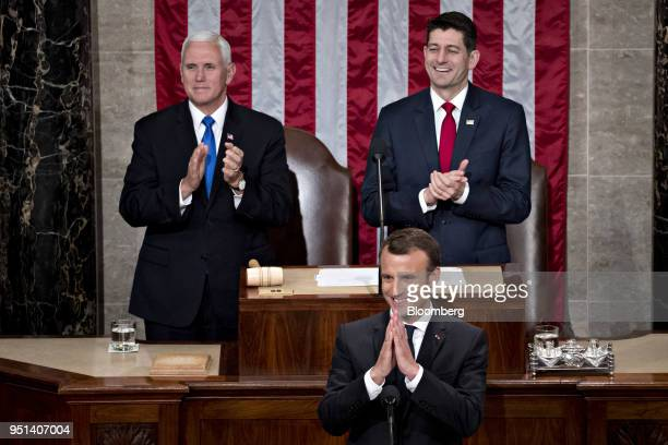 Emmanuel Macron France's president center gestures while arriving to a joint meeting of Congress at the US Capitol in Washington DC US on Wednesday...
