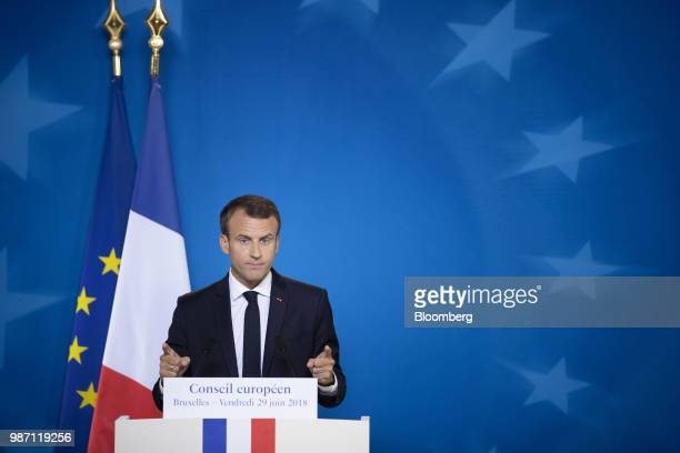 Emmanuel Macron France's president gestures during a news conference at the European Union leaders summit in Brussels Belgium on Friday June 29 2018...