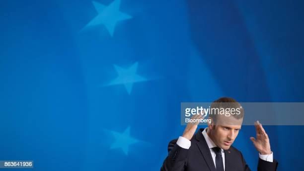 Emmanuel Macron France's president gestures while speaking during a news conference at a European Union leaders summit in Brussels Belgium on Friday...