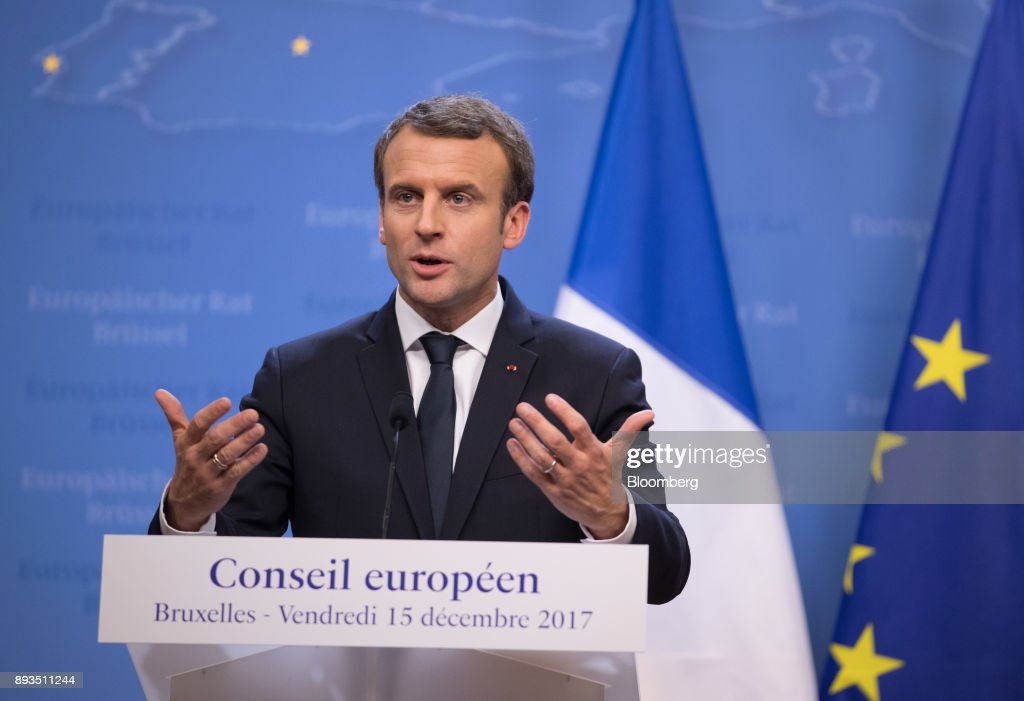 Emmanuel Macron, France's president, gestures while speaking during a news conference at a summit of 27 European Union (EU) leaders in Brussels, Belgium, on Friday, Dec. 15, 2017. European Union leaders formally agreed that the U.K. has offered enough on the divorce settlement for talks to move on to trade. . Photographer: Jasper Juinen/Bloomberg via Getty Images
