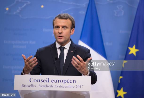 Emmanuel Macron France's president gestures while speaking during a news conference at a summit of 27 European Union leaders in Brussels Belgium on...