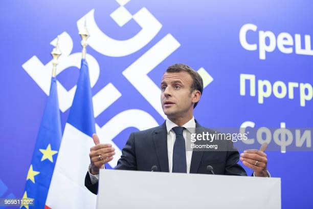 Emmanuel Macron France's president gestures while speaking during a news conference at a European Union and Balkan leaders summit in Sofia Bulgaria...