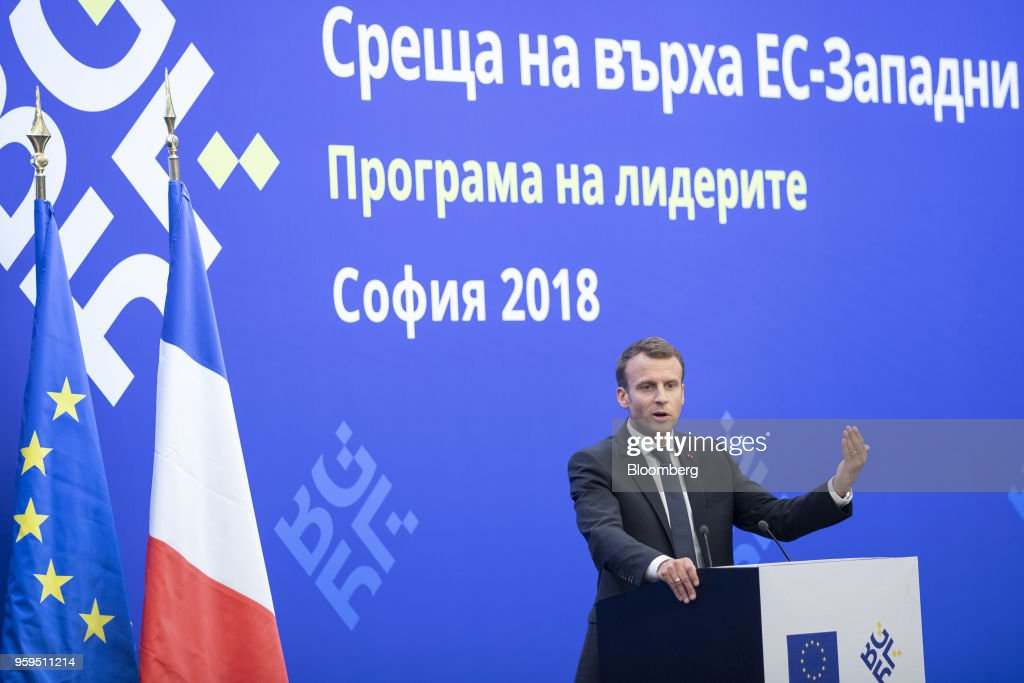 Emmanuel Macron, France's president, gestures while speaking during a news conference at a European Union (EU) and Balkan leaders summit in Sofia, Bulgaria, on Thursday, May 17, 2018. EU leaders presented a determined front to stand up to U.S. President Donald Trump's threats to penalize EU businesses and scupper the Iran nuclear deal. Photographer: Jasper Juinen/Bloomberg via Getty Images