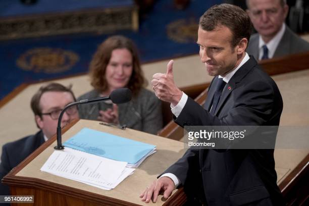 Emmanuel Macron France's president gives a thumbsup after speaking to a joint meeting of Congress at the US Capitol in Washington DC US on Wednesday...