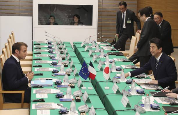JPN: French President Emmanuel Macron Meets With Japan's Prime Minister Shinzo Abe
