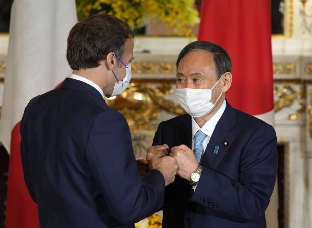 JPN: Prime Minister Yoshihide Suga Meets Frence's Presidnet Emmanuel Macron