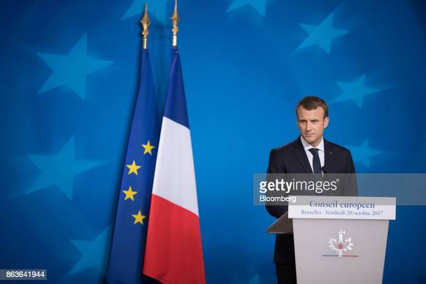 Emmanuel Macron France's president pauses during a news conference at a European Union leaders summit in Brussels Belgium on Friday Oct 20 2017 UK...