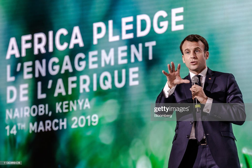 France's President Macron Speaks at One Planet Summit : News Photo