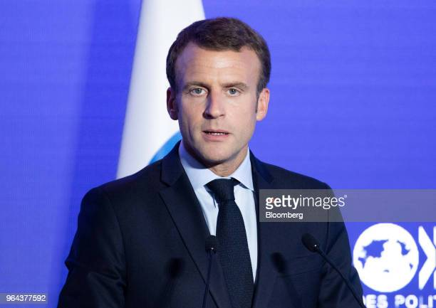 Emmanuel Macron France's president speaks at the Organisation for Economic Cooperation and Development forum in Paris France on Wednesday May 30 2018...