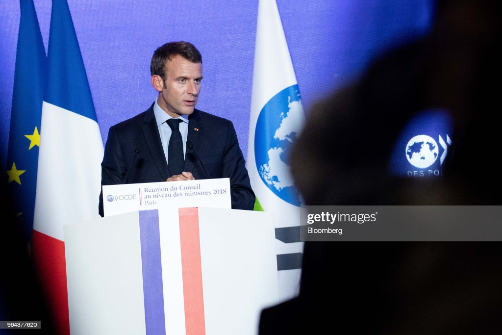 Emmanuel Macron, France's president, speaks at the Organisation for Economic Co-operation and Development (OECD) forum in Paris, France, on Wednesday, May 30, 2018. President Donald Trump's unilateral tariff measures are necessary to fix a broken global trade system and the U.S., like other nations, should focus on its own interests, according to U.S. Commerce Secretary Wilbur Ross. Photographer: Christophe Morin/Bloomberg via Getty Images