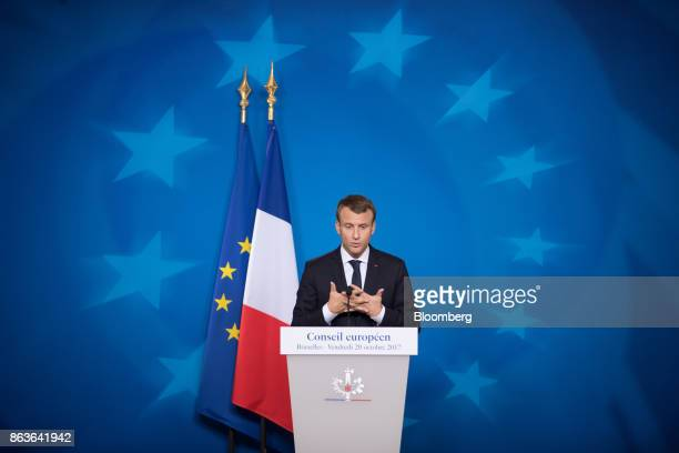 Emmanuel Macron France's president speaks during a news conference at a European Union leaders summit in Brussels Belgium on Friday Oct 20 2017 UK...