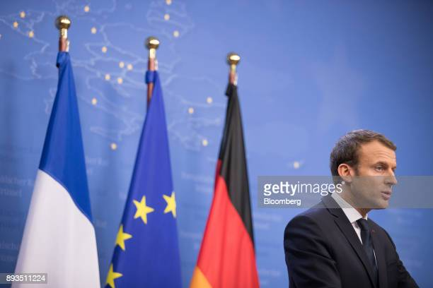 Emmanuel Macron France's president speaks during a news conference at a summit of 27 European Union leaders in Brussels Belgium on Friday Dec 15 2017...