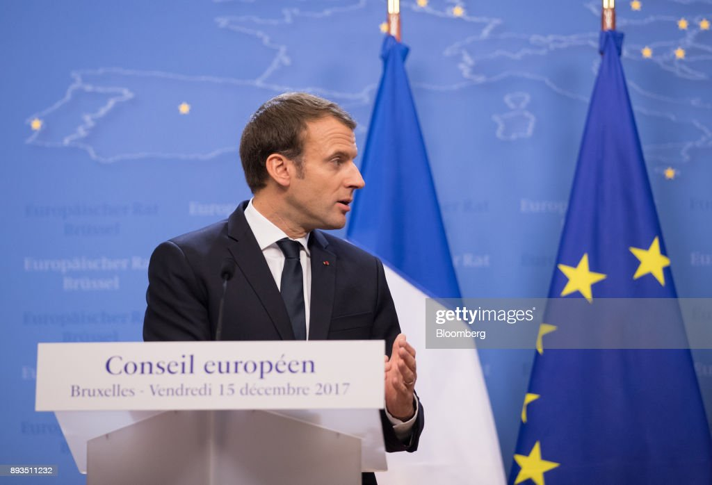 Emmanuel Macron, France's president, speaks during a news conference at a summit of 27 European Union (EU) leaders in Brussels, Belgium, on Friday, Dec. 15, 2017. European Union leaders formally agreed that the U.K. has offered enough on the divorce settlement for talks to move on to trade. Photographer: Jasper Juinen/Bloomberg via Getty Images