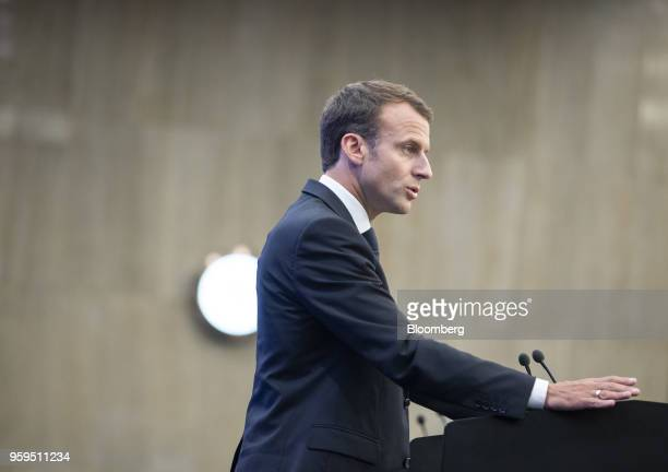 Emmanuel Macron France's president speaks during a news conference at a European Union and Balkan leaders summit in Sofia Bulgaria on Thursday May 17...