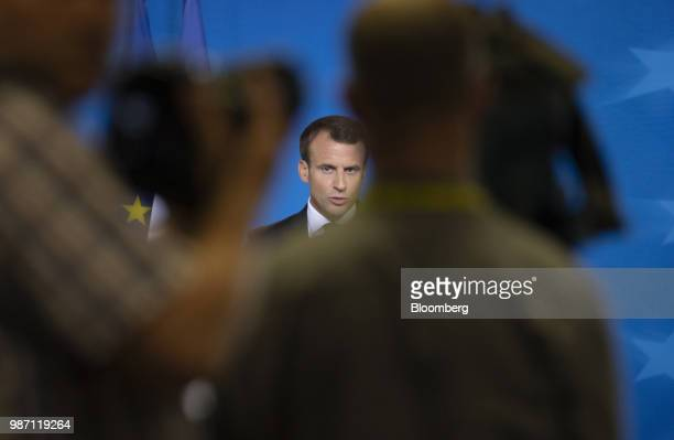 Emmanuel Macron France's president speaks during a news conference at the European Union leaders summit in Brussels Belgium on Friday June 29 2018 EU...