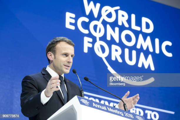 Emmanuel Macron France's president speaks during a special address on day two of the World Economic Forum in Davos Switzerland on Wednesday Jan 24...