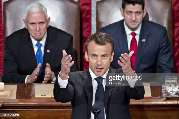 Emmanuel Macron France's president speaks to a joint meeting of Congress at the US Capitol in Washington DC US on Wednesday April 25 2018 French...