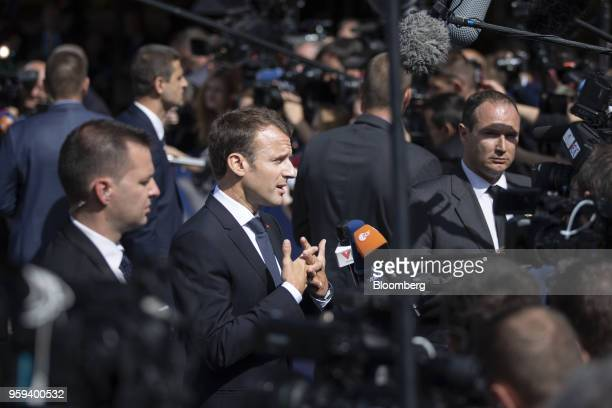 Emmanuel Macron France's president speaks to journalists as he arrives for a summit of European Union leaders in Sofia Bulgaria on Thursday May 17...
