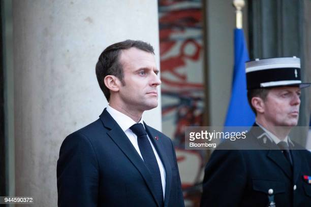 Emmanuel Macron France's president waits to receive guests at the Elysee Palace ahead of a dinner with Mohammed bin Salman Saudi Arabia's crown...