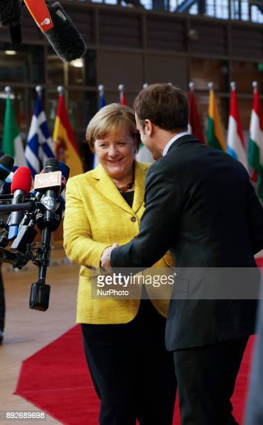 Emmanuel Macron French President with Angela Merkel Cancellor of Germany two most powerful polititians in Europe are arriving to the Europa building...