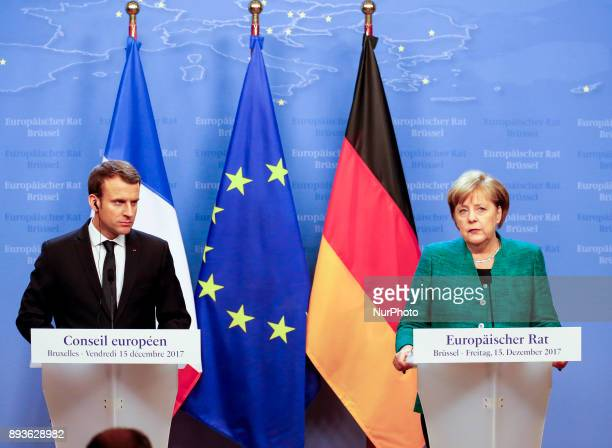 Emmanuel Macron French President with Angela Merkel Chancellor of Germany on joint press conference in Brussels Belgium at the European Council...