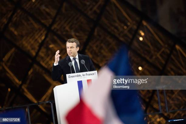 Emmanuel Macron French presidential candidate delivers a speech in front of the Pyramid at the Louvre Museum in Paris France on Sunday May 7 2017...