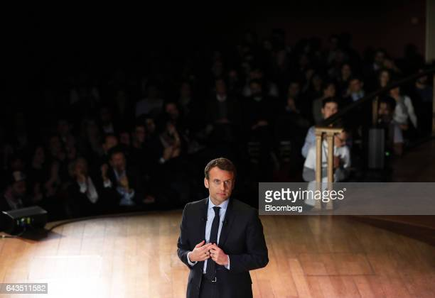 Emmanuel Macron French presidential candidate pauses while speaking during a campaign meeting with French expatriates at Central Hall Westminster in...