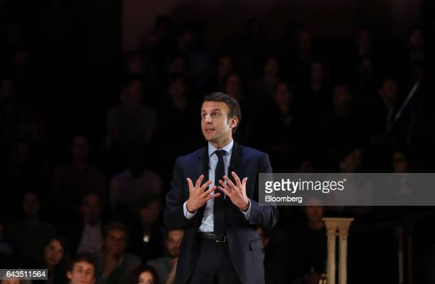 Emmanuel Macron French presidential candidate speaks during a campaign meeting with French expatriates at Central Hall Westminster in London UK on...