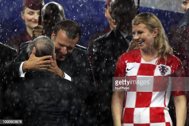 Emmanuel Macron Kolinda GrabarKitarovic Didier Deschamps during Russia 2018 World Cup final football match between France and Croatia at the Luzhniki...