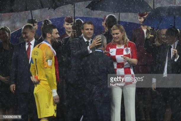 Emmanuel Macron Kolinda GrabarKitarovic Vladimir Putin Didier Deschamps Hugo Lloris during Russia 2018 World Cup final football match between France...