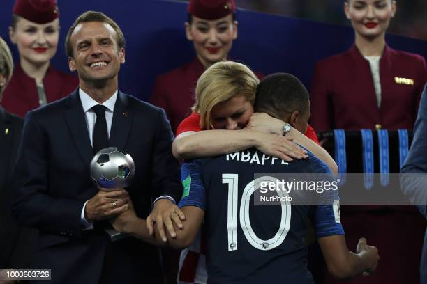 Emmanuel Macron Kylian Mbappe during Russia 2018 World Cup final football match between France and Croatia at the Luzhniki Stadium in Moscow on July...